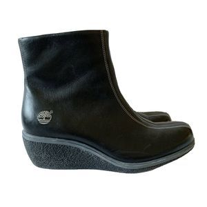 Timberland Black Leather Zip Up Wedge Winter Boots